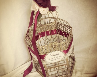 Champagne Gold Birdcage Wedding Card Holder. Gold, burgundy birdcage.  Champagne Gold Wedding Birdcage Card Holder, Wedding Card Box.