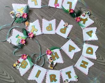 Minnie Tropical Happy Birthday Banner. Aloha birthday banner. Tropical Banner. Minnie Banner