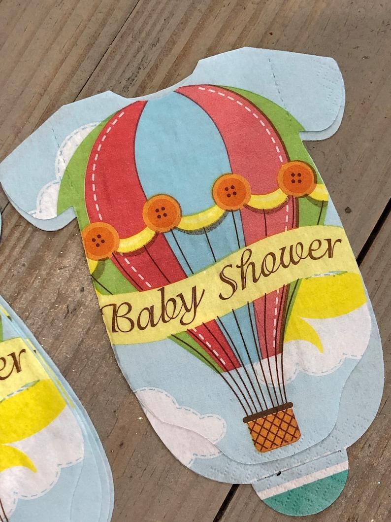 Hot air ballon onesie napkins Hot air balloon Baby Shower  Napkins Set of 20