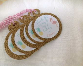 Customizable Flamingo and Pineapple Birthday Favor tags. Thank you tags. Set of 30. Flamingo Birthday or Baby Shower Tags with bakers twine.
