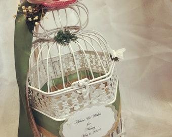 White  Birdcage Wedding Card Holder. Bird themed blush & pink flowers wedding card box. Garden wedding