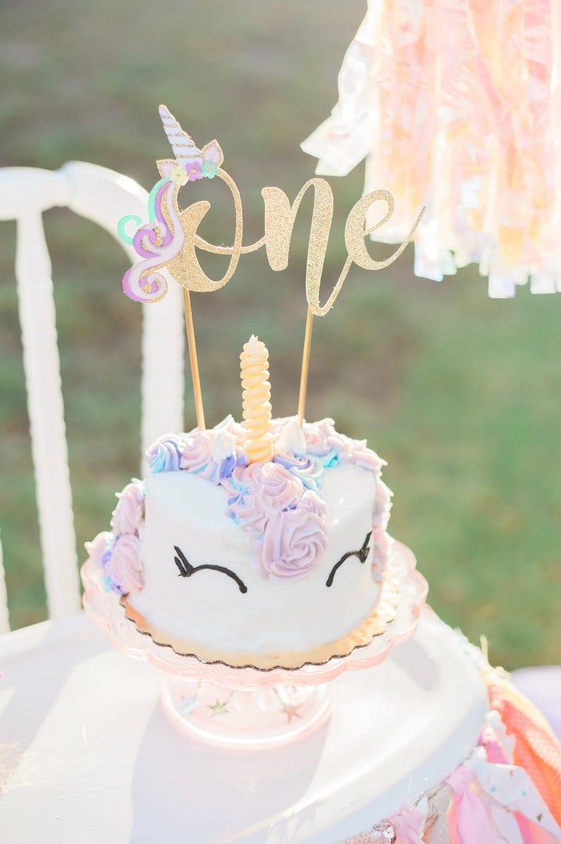 Unicorn Cake Topper Gold glitter Unicorn First Birthday Unicorn First Birthday cake topper