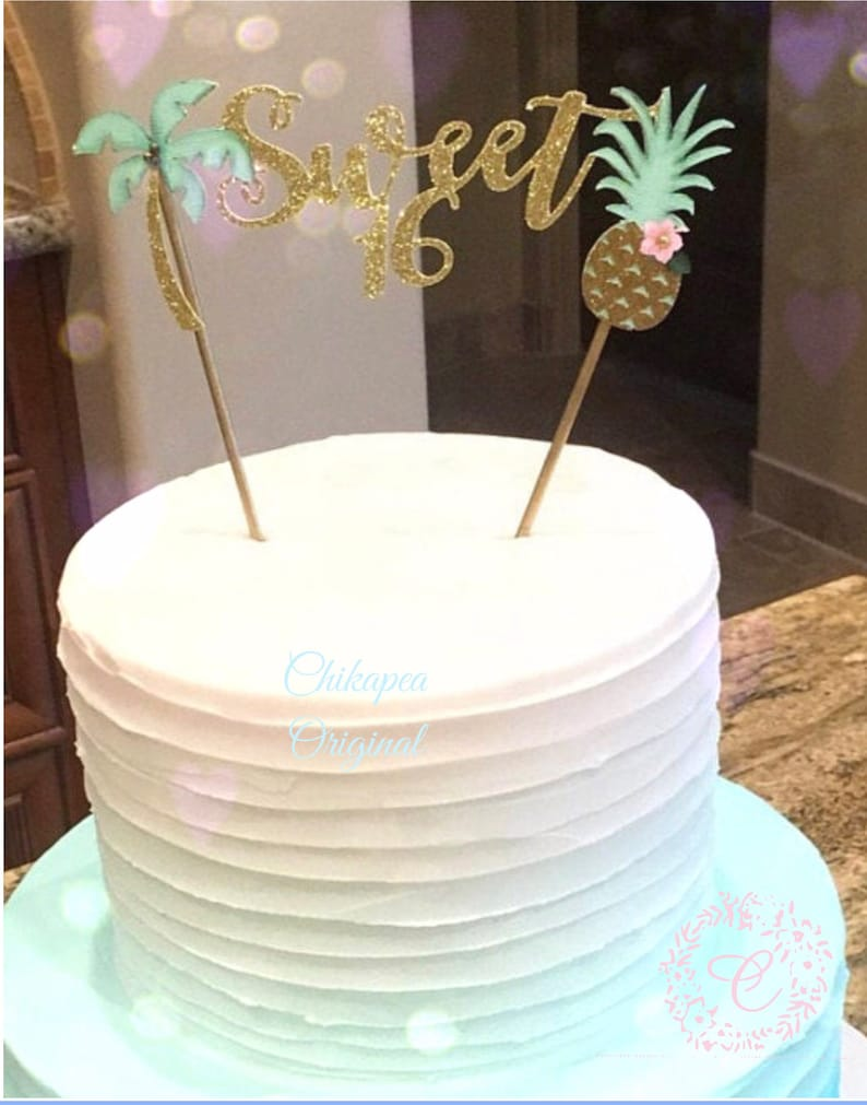 Sweet Sixteen Luau Cake Topper 16th Birthday