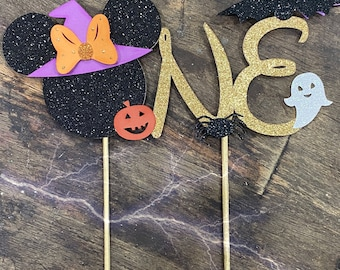 Minnie or Mickey Halloween Cake Topper. One cake topper. One Halloween cake topper