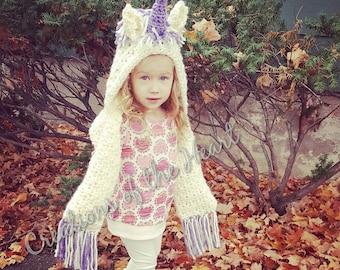 unicorn hooded scarf, crochet hooded scarf, hooded scarf, crochet scarf, unicorn scarf, unicorn hood