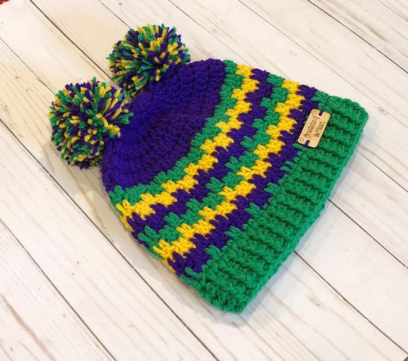 Mardi Gras Pom Pom Hat Mardi Gras Celebration Hat Crochet Mardi Gras Hat Crochet Beanie Crochet Pom Pom Hat