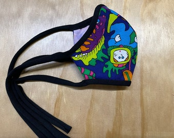 KID SIZE Small Reversible Fabric Mask Ties Triple Layer