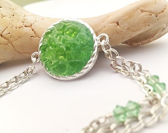 Lime Sea Glass Necklace and Earring Set