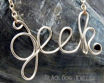 Silver Wire Wrapped Geek Necklace - Geekery Word Jewelry - Nerd Pendant - MajorGeeks - Geek Chic -