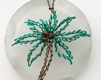 Palm Tree Wire Necklace Wire Wrapped Beach Ornament Christmas at the Beach