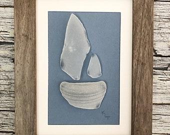 Sea Glass Art Boat -  Gift Idea for Him - Beach Glass Nautical Decor