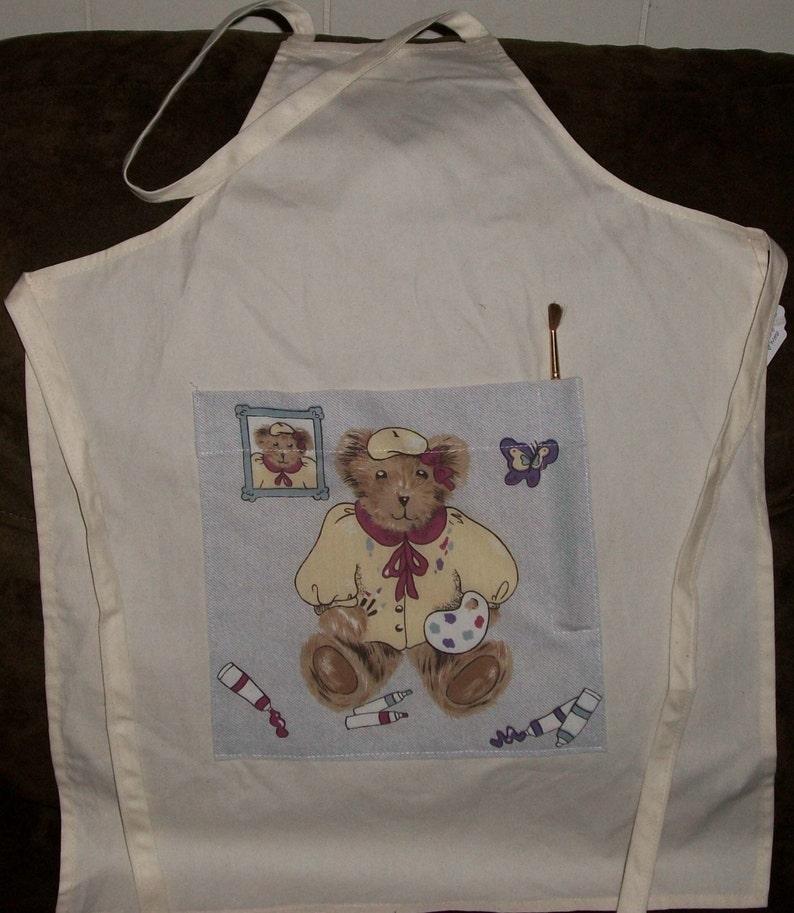 Child Apron  Artist Bear pocket super muslin