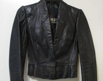 Vintage Womens Winlit Black Leather Waist Length Jacket Size 5 - 6 Small Medium Listeff