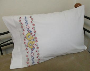 Vintage Hand Embroidered Folk Art Chickens Hearts Single Cotton Blend Pillowcase