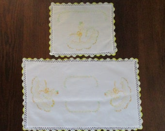 Two Vintage Matching Hand Embroidered Southern Belle Floral Table Runners Dresser Scarfs Doilies