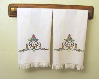 Two Vintage Hand Embroidered Folk Art Kitchen Tea Luncheon Towels