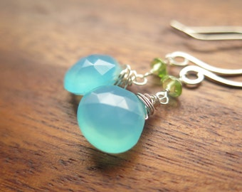 Sky Blue Chalcedony and Sterling Silver Earrings