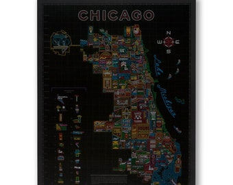 Neon Neighborhood Map of Chicago Poster Wall Art - Bright Neon Colors - Features All Neighborhoods - Designed in Chicago