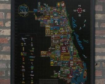 Plan de quartier de néon de Chicago affiche Wall Art
