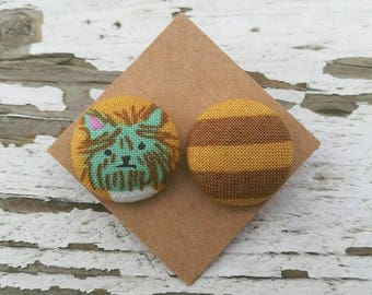 """Fabric Button Post Stud Earrings - Mismatched Dog and Yellow Gold Brown Stripes - 3/4"""""""