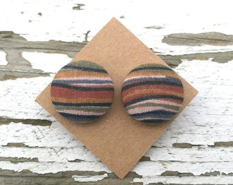 "Fabric Button Post Earrings - Multicolor Earthtones Fall Stripes - 3/4"""