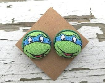 """Teenage Mutant Ninja Turtles Fabric Button Post Earrings - 3/4"""""""