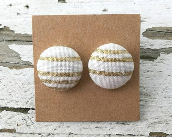 """Fabric Button Post Earrings - Gold and White Stripes- Modern - 5/8"""""""