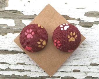 """Fabric Button Post Stud Earrings - Cat and Dog Paws - Multicolored with Maroon Background - 3/4"""""""