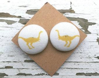 "Fabric Button Post Stud Earrings - Yellow Dinosaurs Raptors - 3/4"""