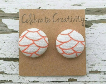 """Fabric Button Post Stud Earrings - Coral Scales Abstract Pattern with White Background - 5/8"""""""