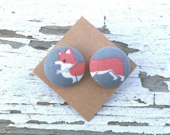 """Fabric Button Post Stud Earrings - Mismatched Dog Head and Tail - Corgi -  3/4"""""""