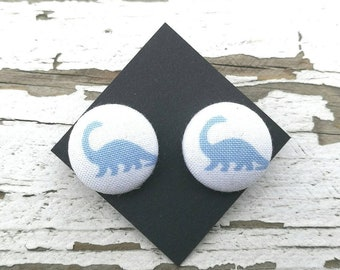 "Fabric Button Post Stud Earrings - Blue Brontosaurus Diplodocus Dinosaur - 3/4"""