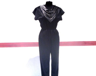 90s Vintage Black Camisole with Tony Rose Accents Womens Medium
