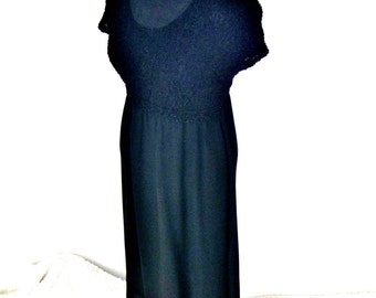 wITCh WEar Vintage 90's Black Flow Skirt Dress with Modern Textured Bodycon Bust and Short Sleeves Women's Medium