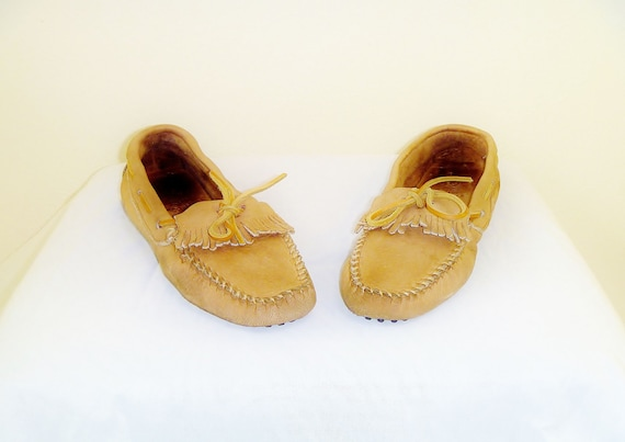 Vintage Minnetonka Boat-Shoe Moccasins with Leathe