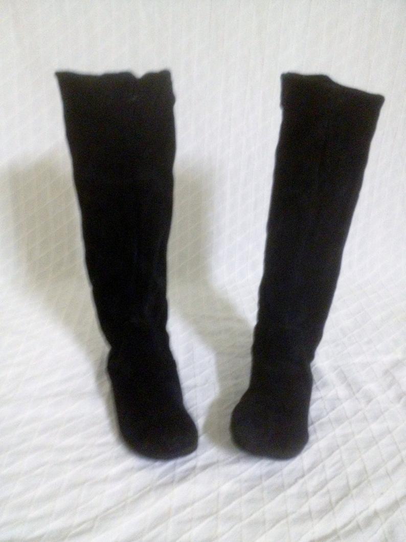 Vintage 90/'s Black Suede Tall Boots Cowboy Cut Flats Women/'s Size 7