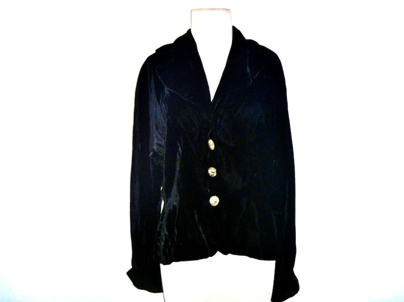 Vintage 1950/'s Black Velvet Formal Women/'s Dinner Jacket with Silver Buttons Marvian Original California