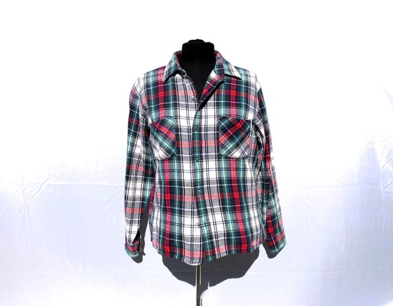 70s DEE CEE BRAND Rare Cut-Out Pockets Western Shirt 1970s Paper Thin Pearl Snap Button Down Mens Shirt Top Plaid Long Sleeve Extra Large