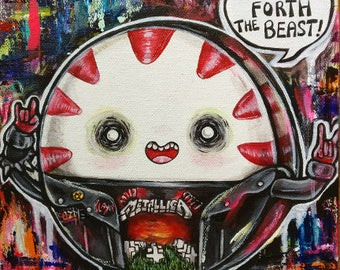 Peppermint Butler Acrylic Original Painting Art 8x10 Adventure Time Punk Metal Illustration with Science the Mouse Finn and Jake