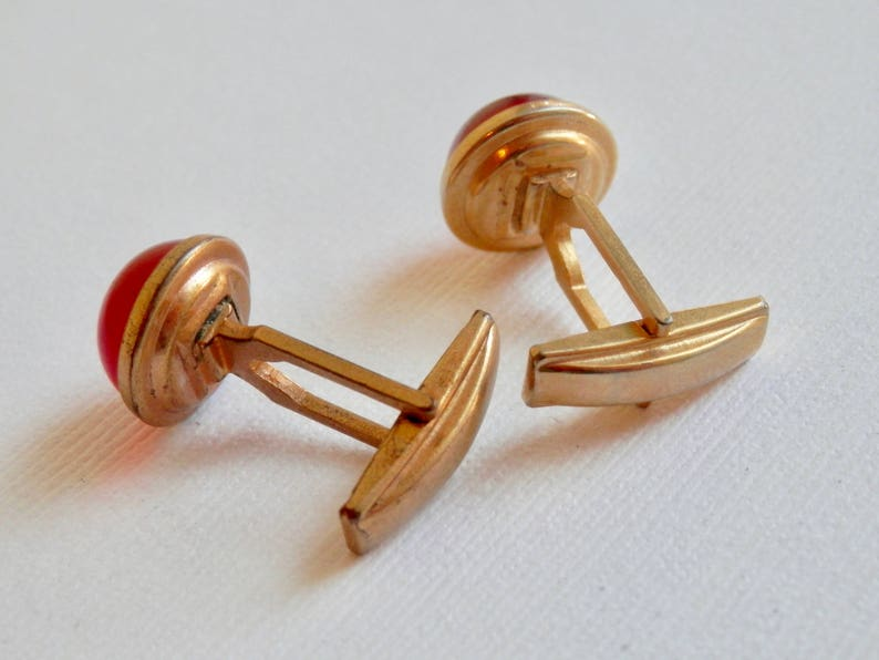 Mid Century Mans Accessory Iridescent Mens Accessories Suit Shirt Vintage Cuff Links Bright Red 1960s Goldtone