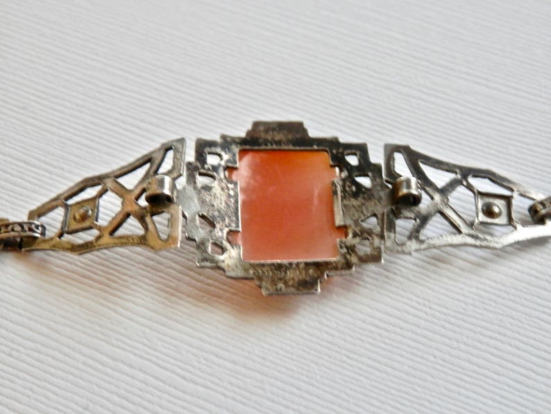 Art Deco Bracelet Cameo Bracelet Sterling Silver Marcasite Square Cameo Shell Antique Jewelry Antique Silver Vintage Jewelry