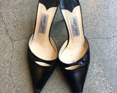 Vintage 90 39 s Jimmy Choo Black Leather Pointy Toe Heeled Mules Slides As Is Size 37 Euro