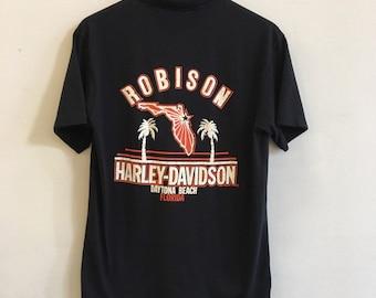 151ad1d33cdf5 Vintage Soft and Thin Black Harley Davidson Polo Shirt From Daytona Beach  Florida Robison Harley Davidson