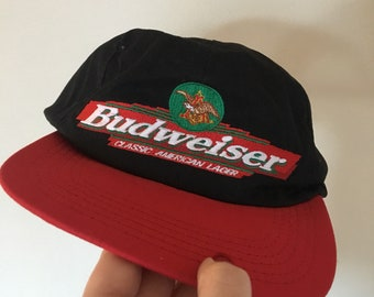 b97cbbba795d5 Vintage 1996 Official Budweiser Embroidered Logo SnapBack Dad Hat Made in  the USA