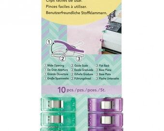 Clover 10 Regular Wonder Clips I Sew For Fun Green Purple 9606CV