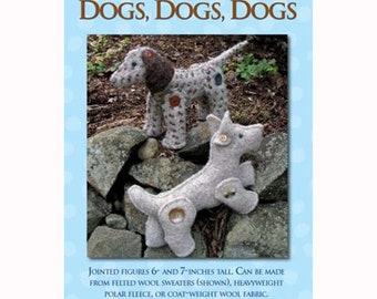 Dogs Dogs Dogs /  Stuffie Pattern / Jointed Dog / Stuffed Animal / Stuffed Dog / Rebecca Anderson /