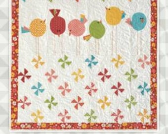 Twitter / Quilt Pattern / Birds / Pinwheels / Meags and Me / Throw Quilt Pattern / Sewing Pattern / Applique Pattern
