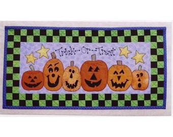The Carving Contest / Jack O'Lanterns / Pumpkins / Halloween / Wall Quilt / Just My Imagination / Mary Kerr / Sewing Pattern / Quilt Pattern