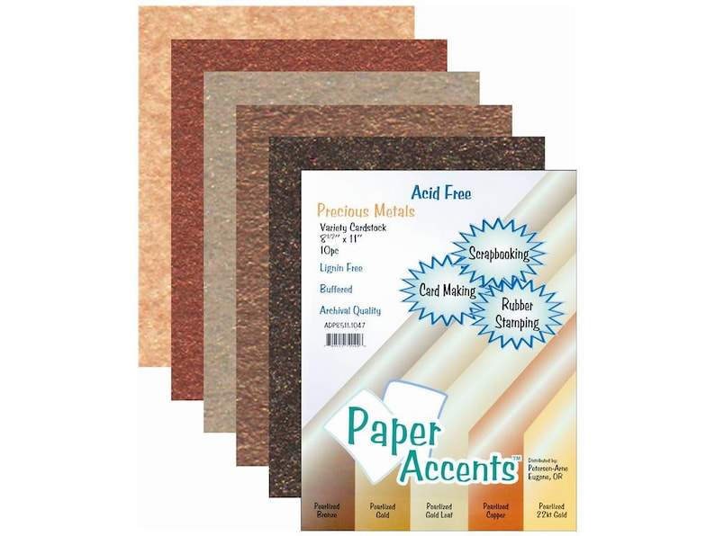 Paper Accents Cardstock Card Stock Precious Metals Variety Pack Bronze Gold Copper Pearlized