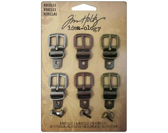 Buttons Tim Holtz  Idea-ology Ideaology Buckles Fasteners Clasps Antique Pewter Copper Brass
